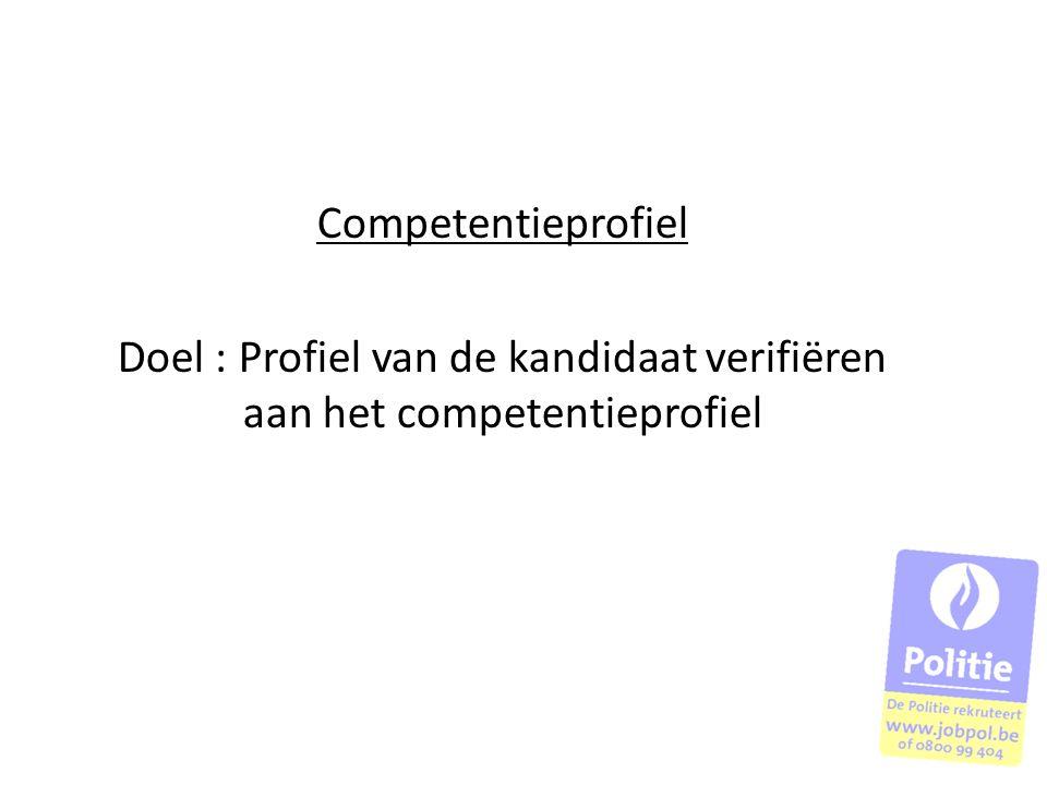 Doel : Profiel van de kandidaat verifiëren aan het competentieprofiel