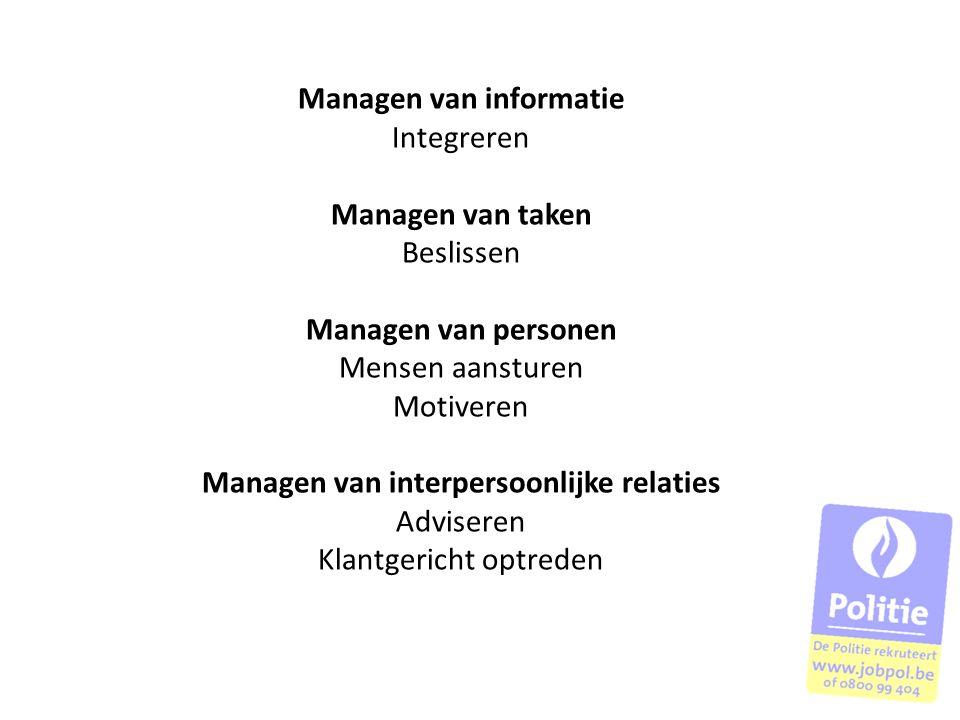 Managen van informatie Integreren Managen van taken Beslissen