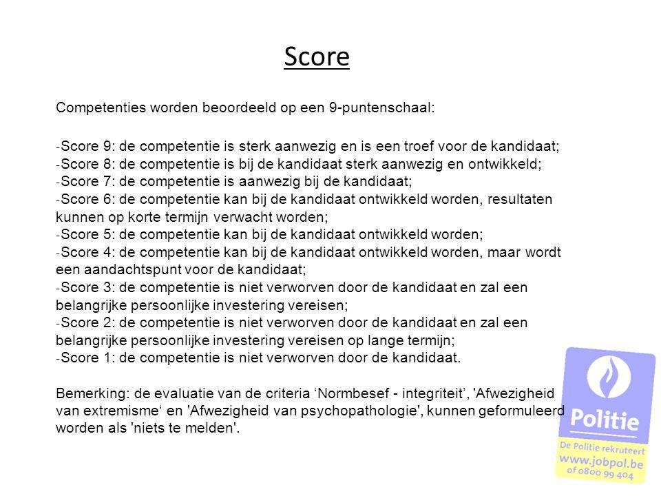 Score Competenties worden beoordeeld op een 9-puntenschaal: