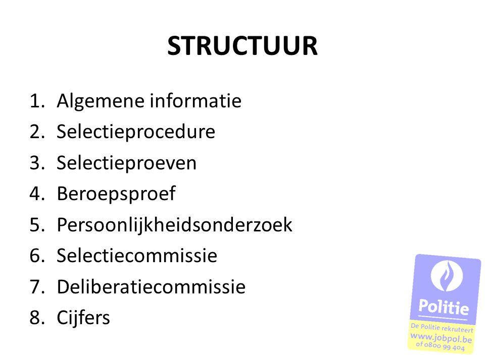 STRUCTUUR Algemene informatie Selectieprocedure Selectieproeven