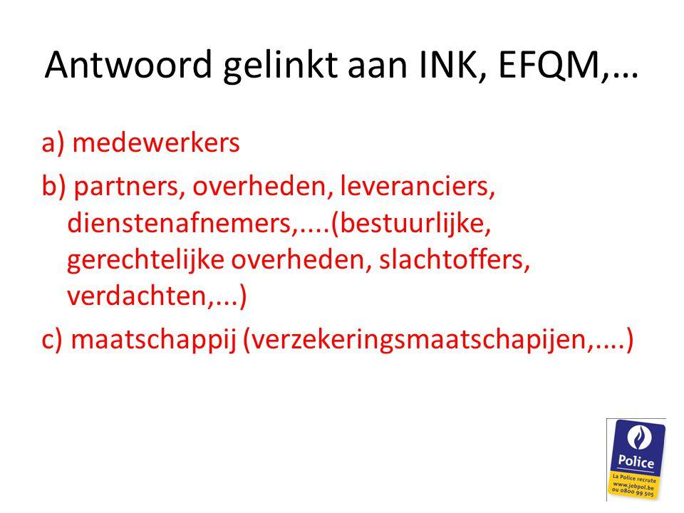 Antwoord gelinkt aan INK, EFQM,…
