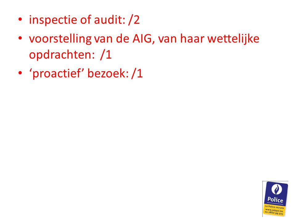 inspectie of audit: /2 voorstelling van de AIG, van haar wettelijke opdrachten: /1.
