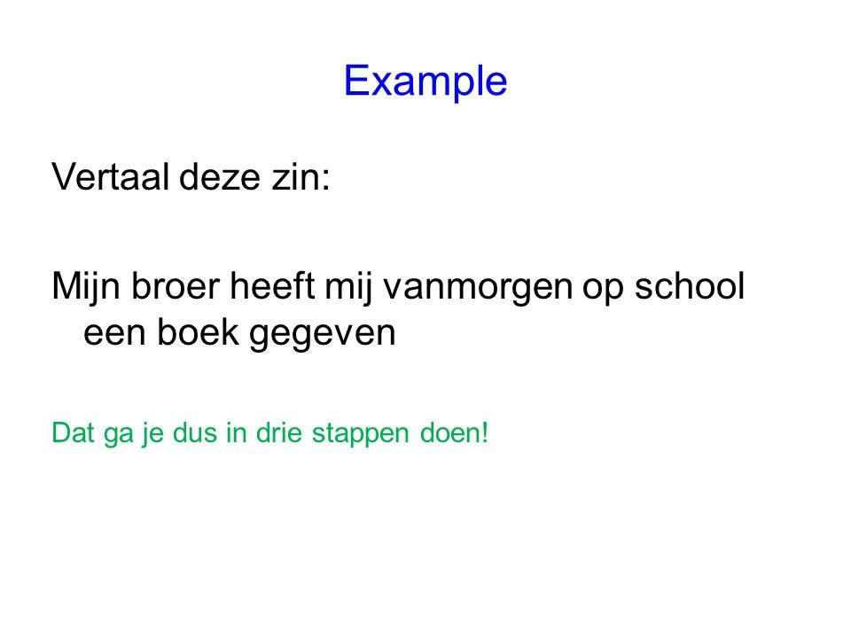 Example Vertaal deze zin:
