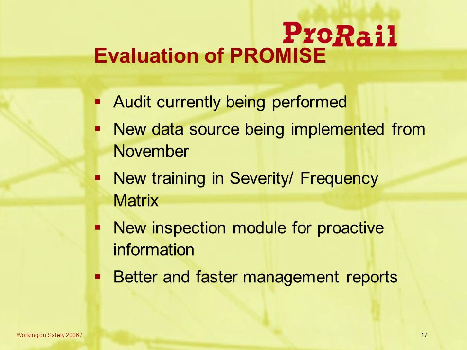 Evaluation of PROMISE Audit currently being performed
