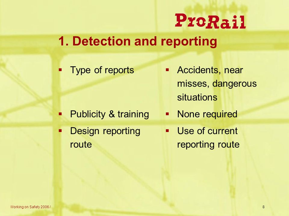 1. Detection and reporting