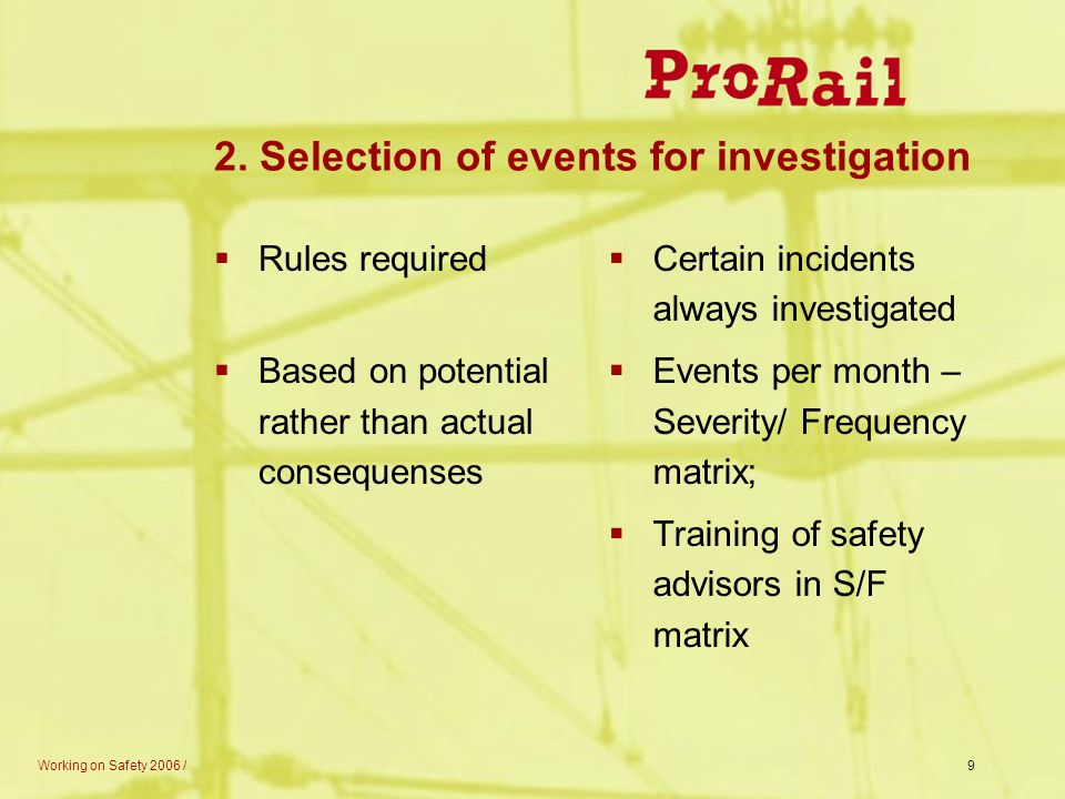 2. Selection of events for investigation