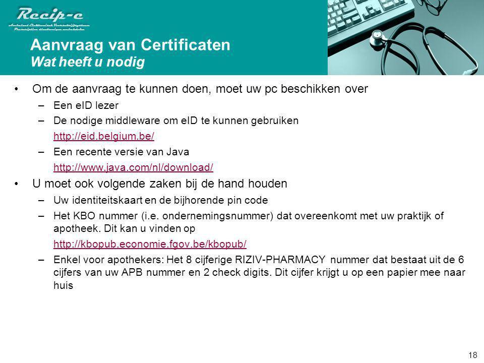 Aanvraag van Certificaten Wat heeft u nodig