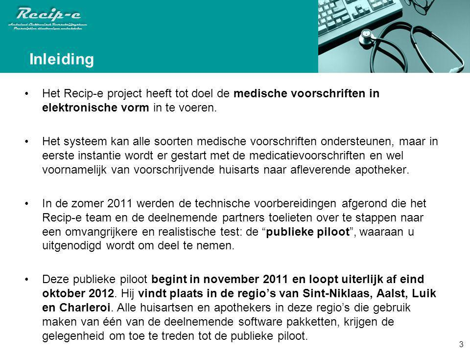 Inleiding Het Recip-e project heeft tot doel de medische voorschriften in elektronische vorm in te voeren.