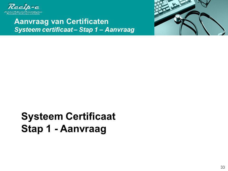 Systeem Certificaat Stap 1 - Aanvraag