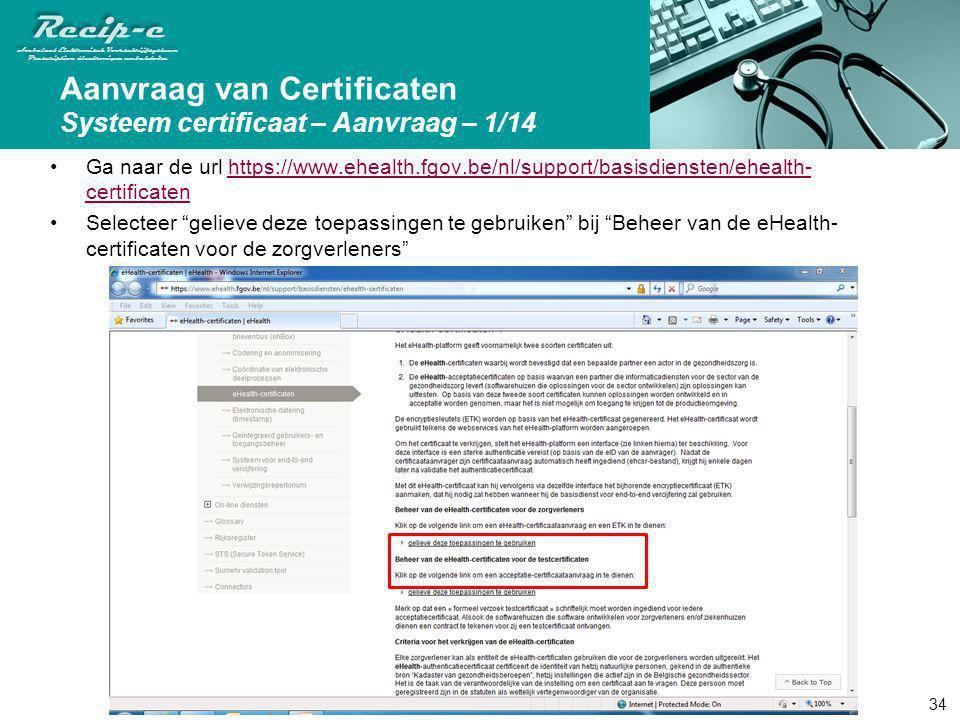 Aanvraag van Certificaten Systeem certificaat – Aanvraag – 1/14