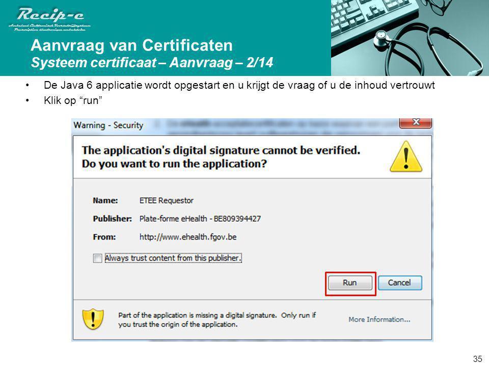 Aanvraag van Certificaten Systeem certificaat – Aanvraag – 2/14