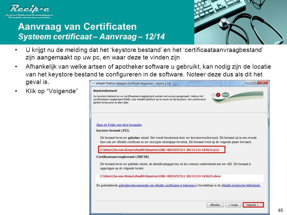 Aanvraag van Certificaten Systeem certificaat – Aanvraag – 12/14