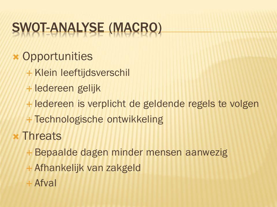 Swot-analyse (macro) Opportunities Threats Klein leeftijdsverschil