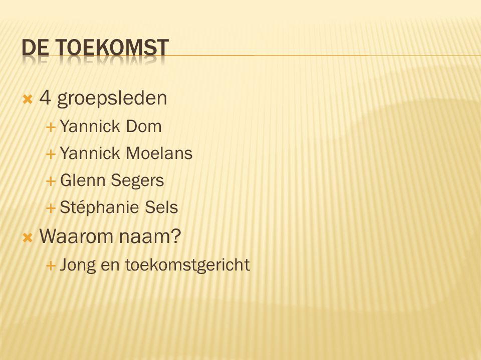 De toekomst 4 groepsleden Waarom naam Yannick Dom Yannick Moelans