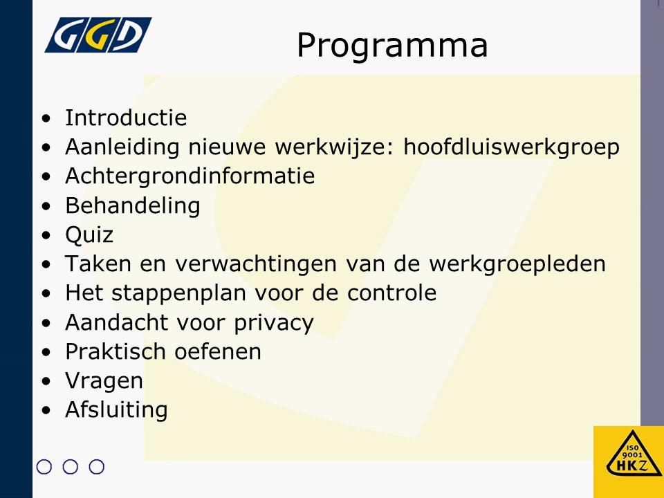 Programma Introductie Aanleiding nieuwe werkwijze: hoofdluiswerkgroep
