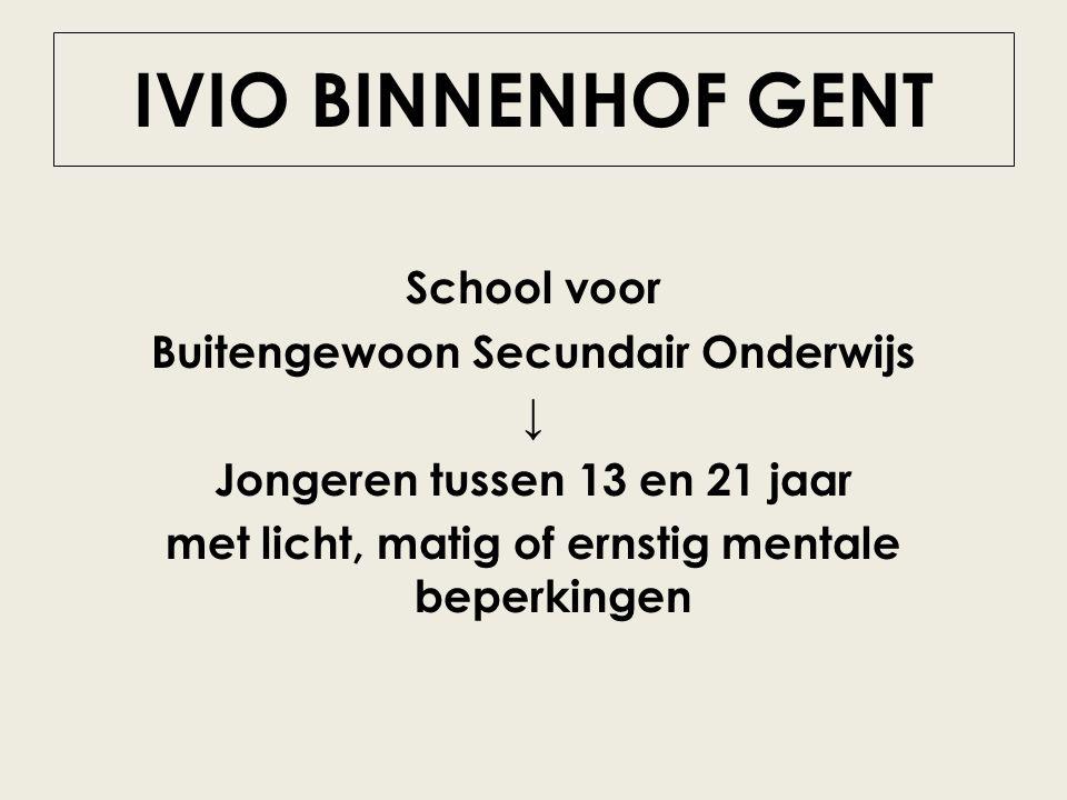 IVIO BINNENHOF GENT School voor Buitengewoon Secundair Onderwijs ↓ Jongeren tussen 13 en 21 jaar met licht, matig of ernstig mentale beperkingen