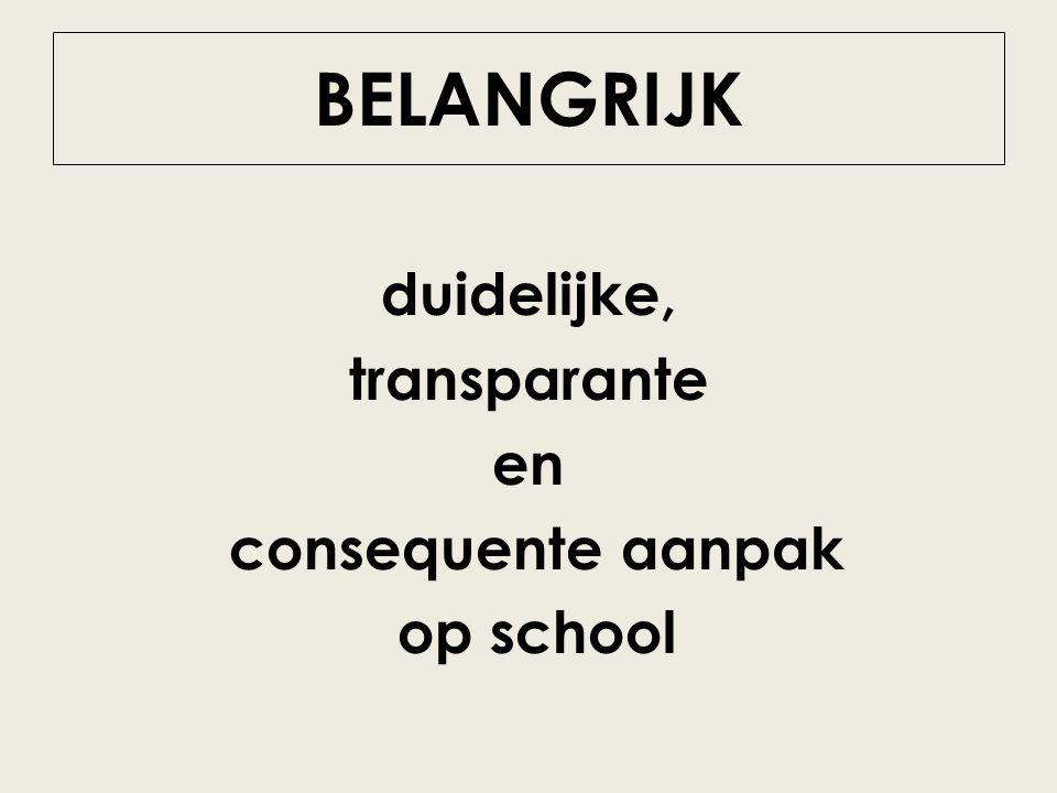 duidelijke, transparante en consequente aanpak op school