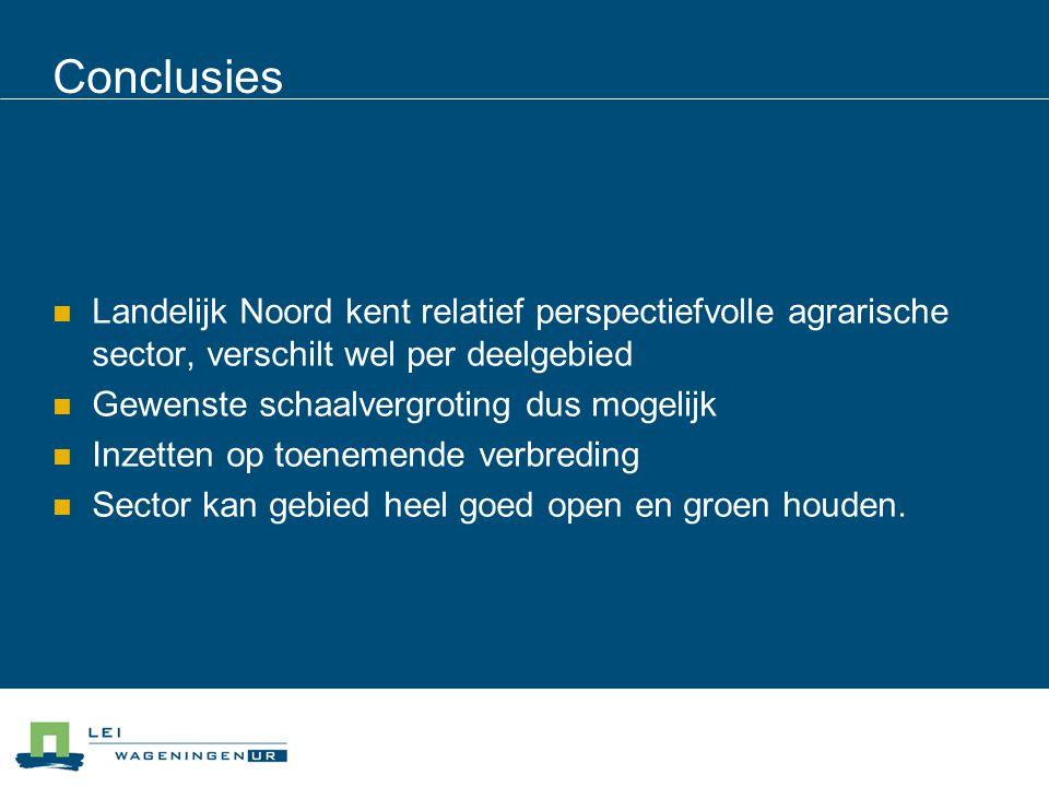 Conclusies Landelijk Noord kent relatief perspectiefvolle agrarische sector, verschilt wel per deelgebied.