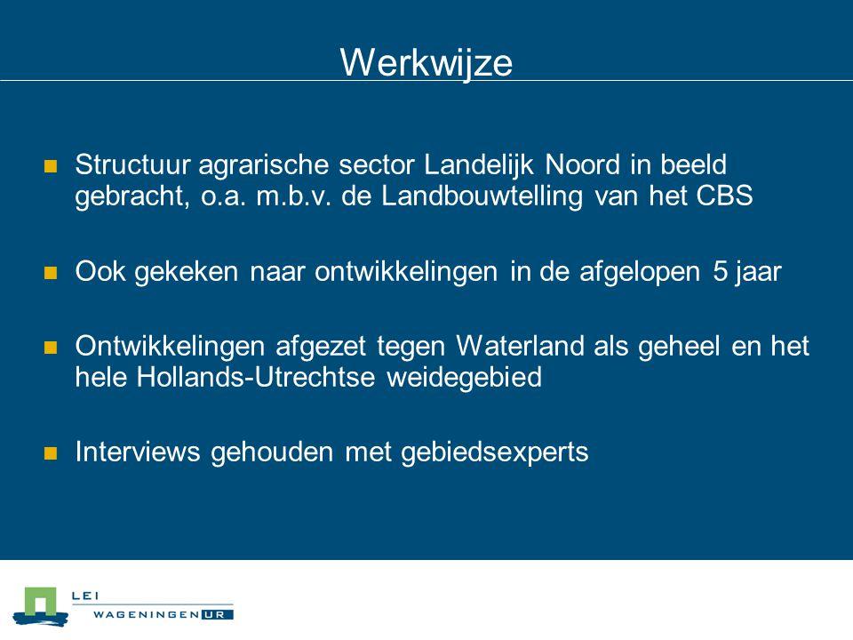 Werkwijze Structuur agrarische sector Landelijk Noord in beeld gebracht, o.a. m.b.v. de Landbouwtelling van het CBS.