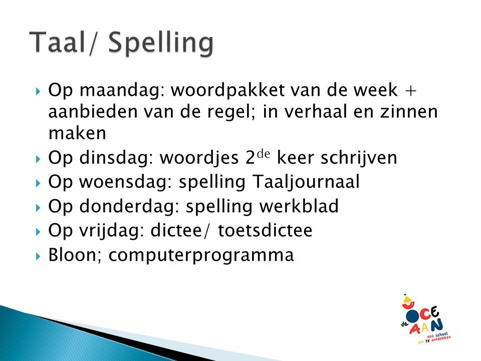 Taal/ Spelling Op maandag: woordpakket van de week + aanbieden van de regel; in verhaal en zinnen maken.
