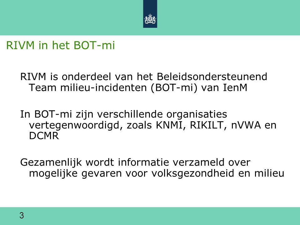 RIVM in het BOT-mi RIVM is onderdeel van het Beleidsondersteunend Team milieu-incidenten (BOT-mi) van IenM.