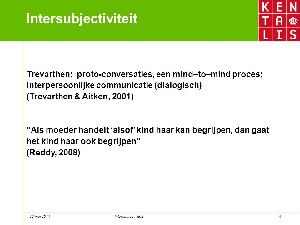Intersubjectiviteit Trevarthen: proto-conversaties, een mind–to–mind proces; interpersoonlijke communicatie (dialogisch)