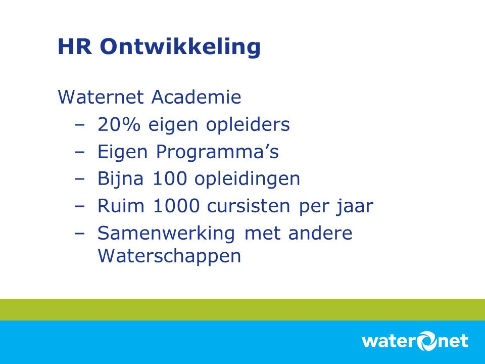 HR Ontwikkeling Waternet Academie 20% eigen opleiders