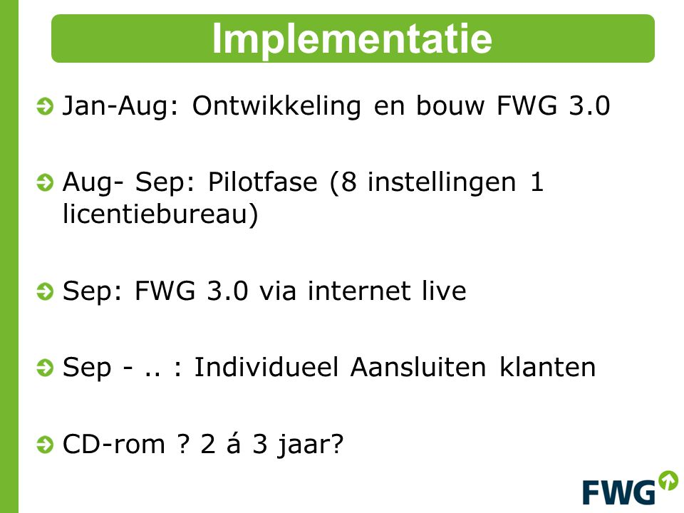 Implementatie Jan-Aug: Ontwikkeling en bouw FWG 3.0
