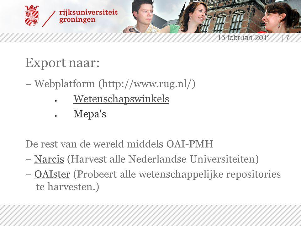 Export naar: – Webplatform (http://www.rug.nl/) Wetenschapswinkels
