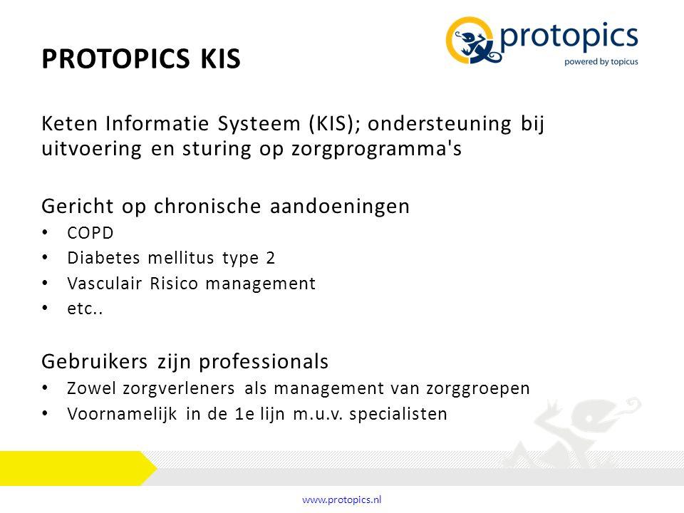 Protopics kis Keten Informatie Systeem (KIS); ondersteuning bij uitvoering en sturing op zorgprogramma s.