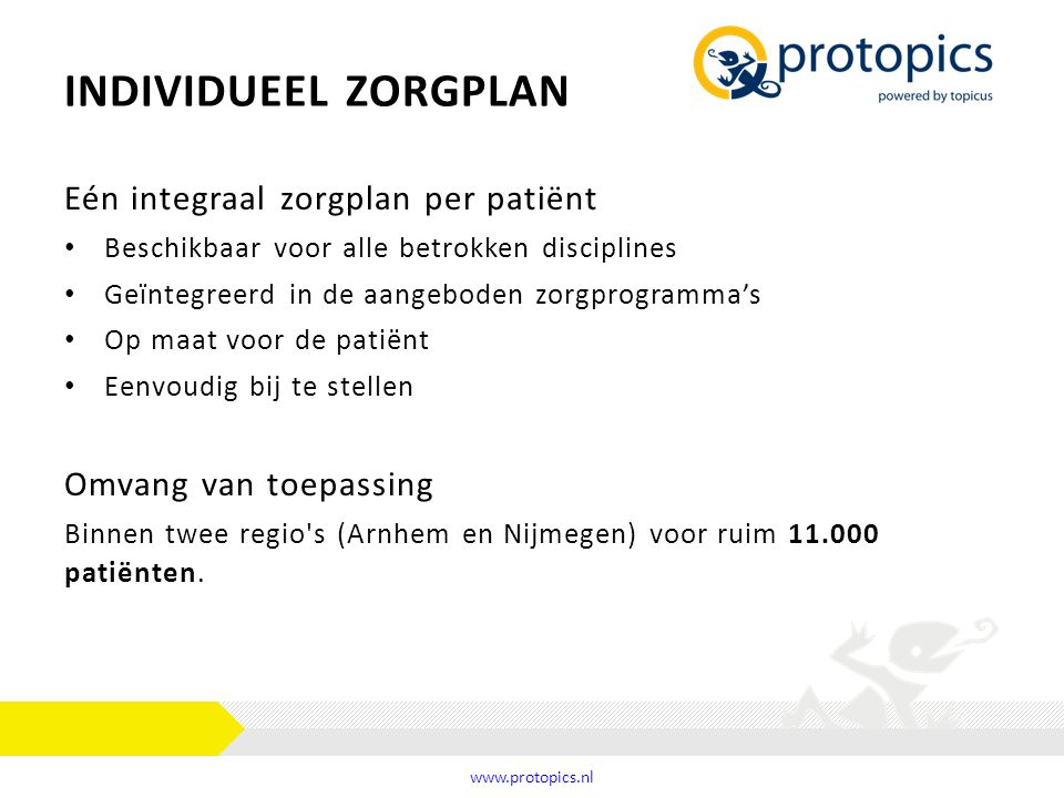Individueel zorgplan Eén integraal zorgplan per patiënt