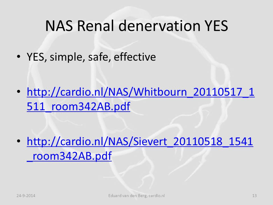 NAS Renal denervation YES