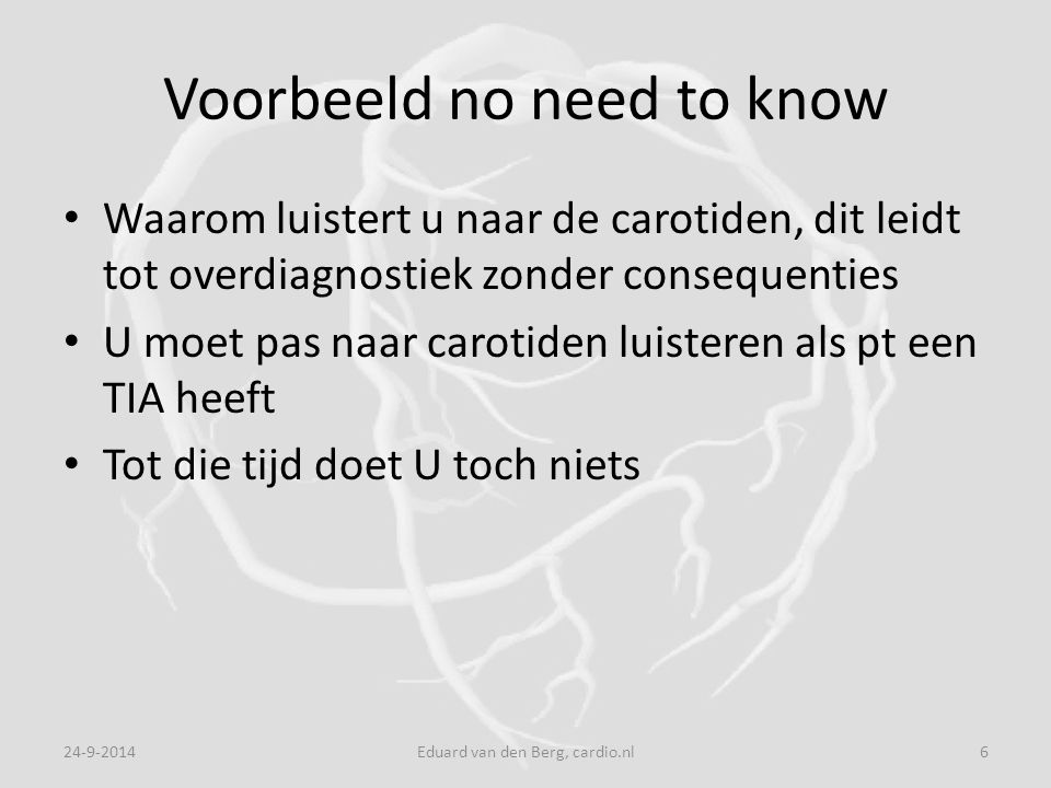 Voorbeeld no need to know