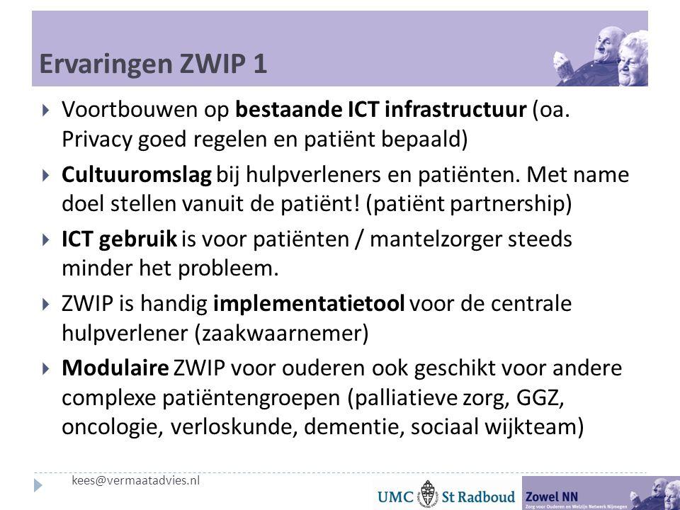Ervaringen ZWIP 1 Voortbouwen op bestaande ICT infrastructuur (oa. Privacy goed regelen en patiënt bepaald)