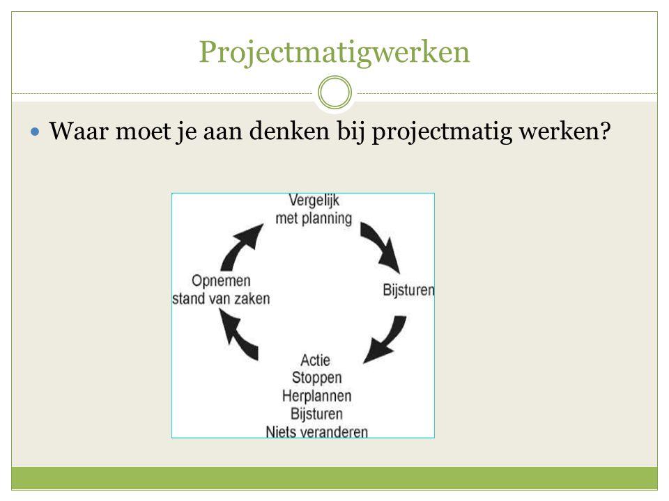 Projectmatigwerken Waar moet je aan denken bij projectmatig werken