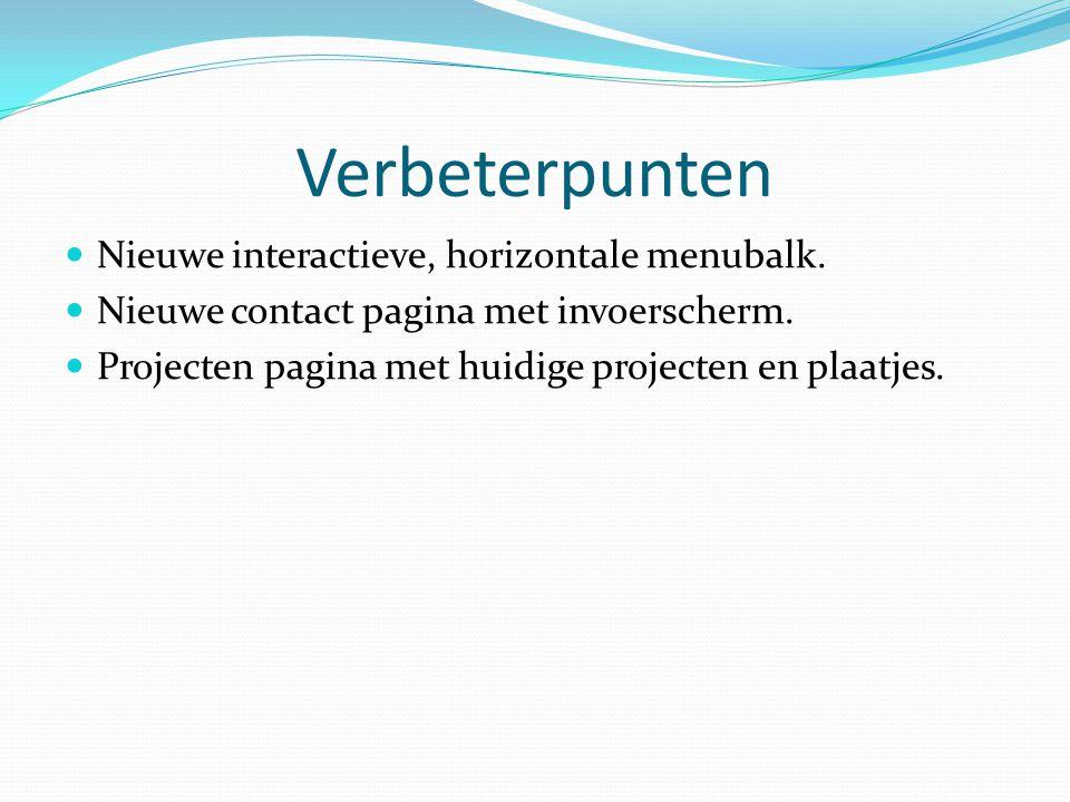 Verbeterpunten Nieuwe interactieve, horizontale menubalk.