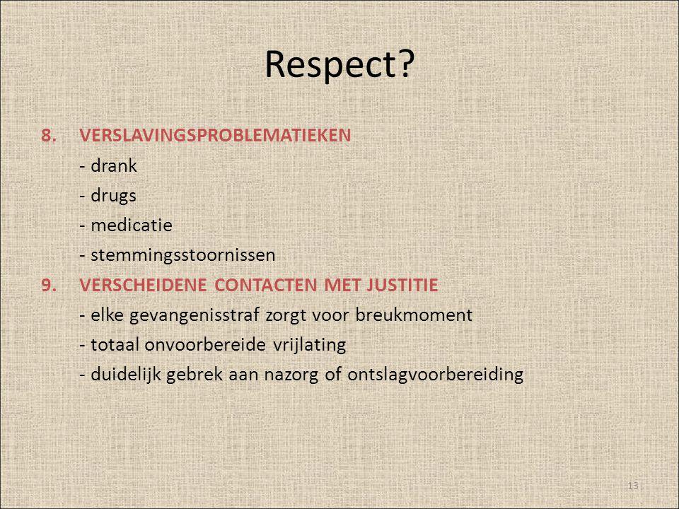 Respect VERSLAVINGSPROBLEMATIEKEN - drank - drugs - medicatie