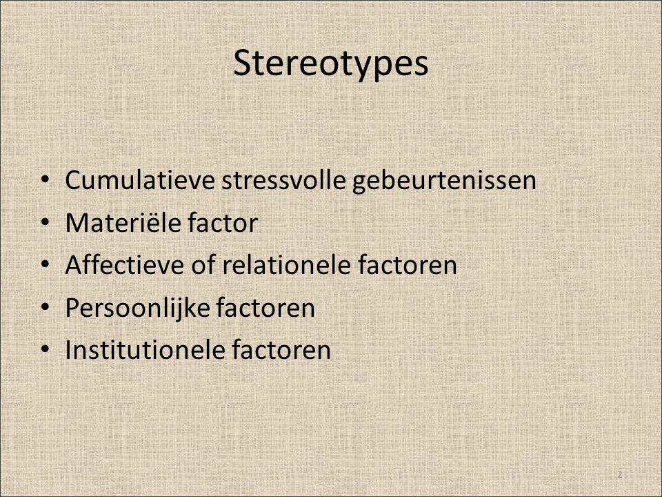 Stereotypes Cumulatieve stressvolle gebeurtenissen Materiële factor