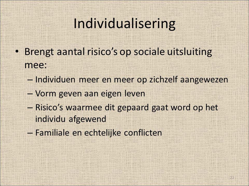 Individualisering Brengt aantal risico's op sociale uitsluiting mee:
