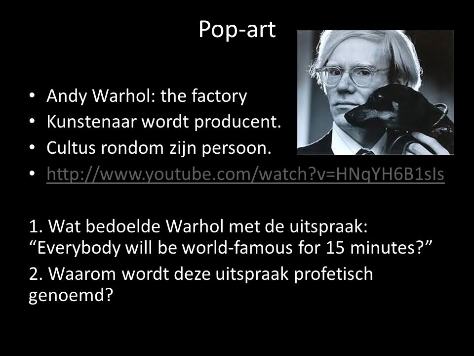 Pop-art Andy Warhol: the factory Kunstenaar wordt producent.