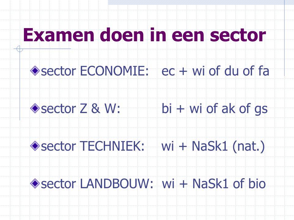 Examen doen in een sector