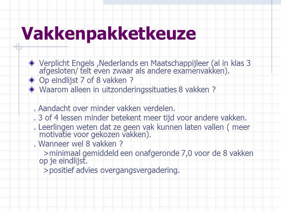 Vakkenpakketkeuze Verplicht Engels ,Nederlands en Maatschappijleer (al in klas 3 afgesloten/ telt even zwaar als andere examenvakken).