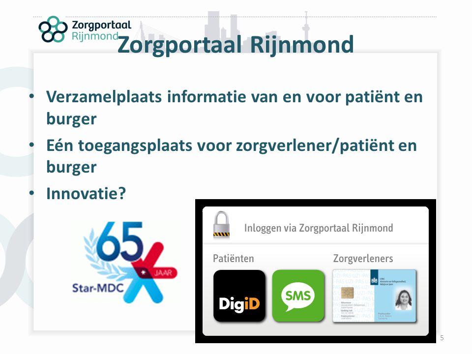 Zorgportaal Rijnmond Verzamelplaats informatie van en voor patiënt en burger. Eén toegangsplaats voor zorgverlener/patiënt en burger.