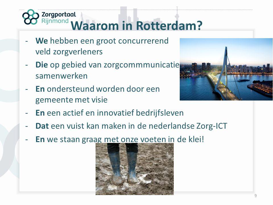 Waarom in Rotterdam We hebben een groot concurrerend veld zorgverleners. Die op gebied van zorgcommmunicatie samenwerken.