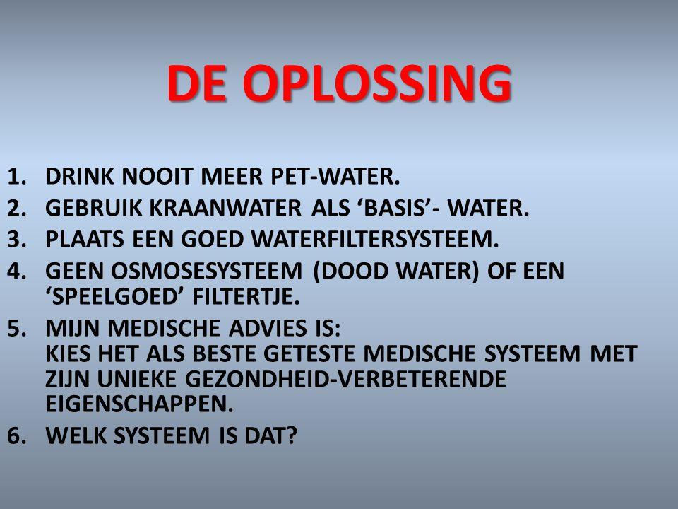DE OPLOSSING DRINK NOOIT MEER PET-WATER.