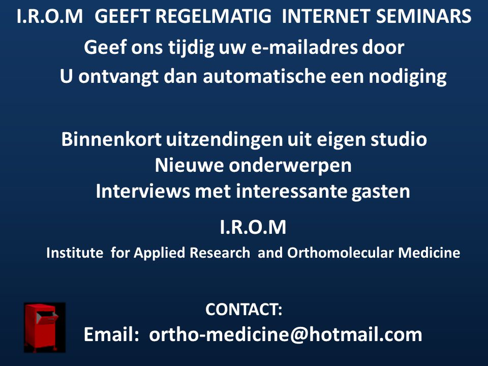 I.R.O.M GEEFT REGELMATIG INTERNET SEMINARS