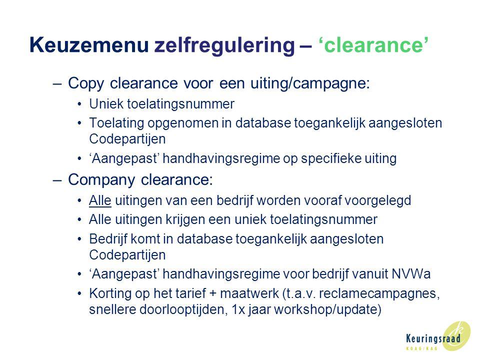 Keuzemenu zelfregulering – 'clearance'