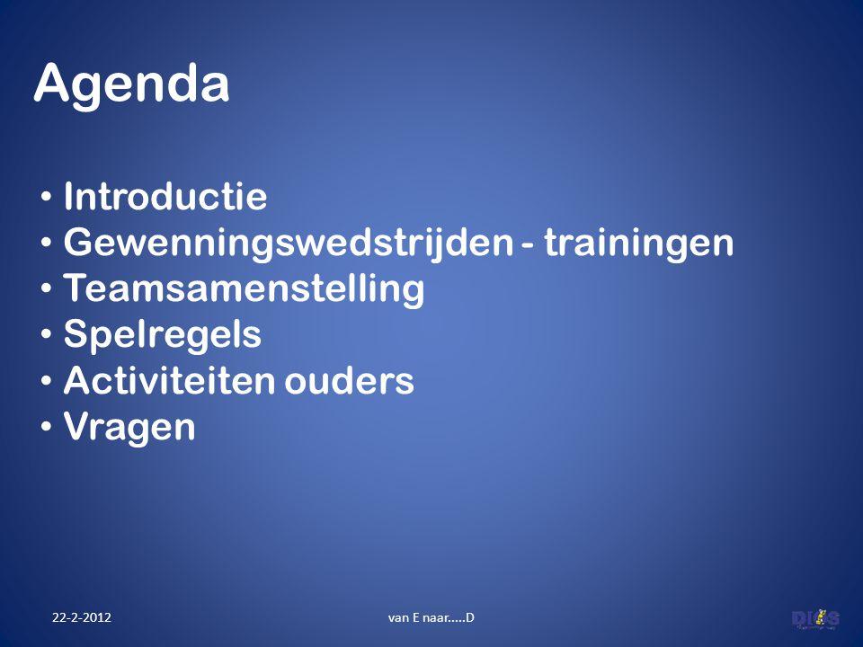 Agenda Introductie Gewenningswedstrijden - trainingen