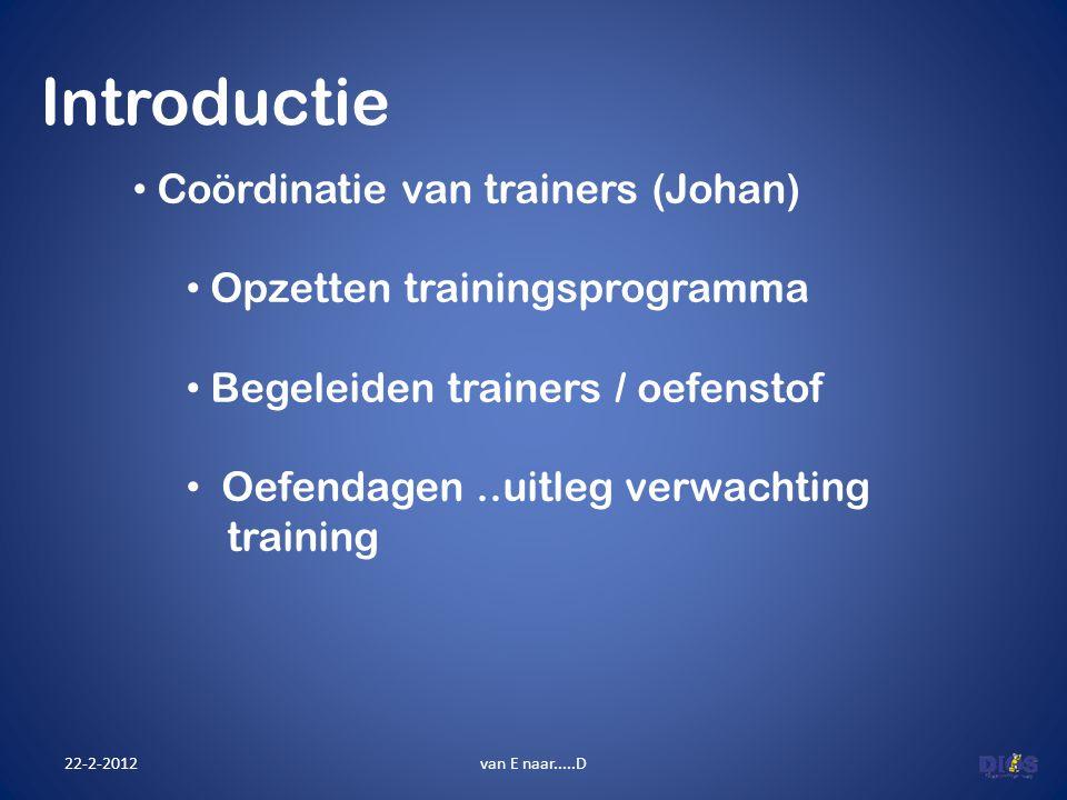 Introductie Coördinatie van trainers (Johan)