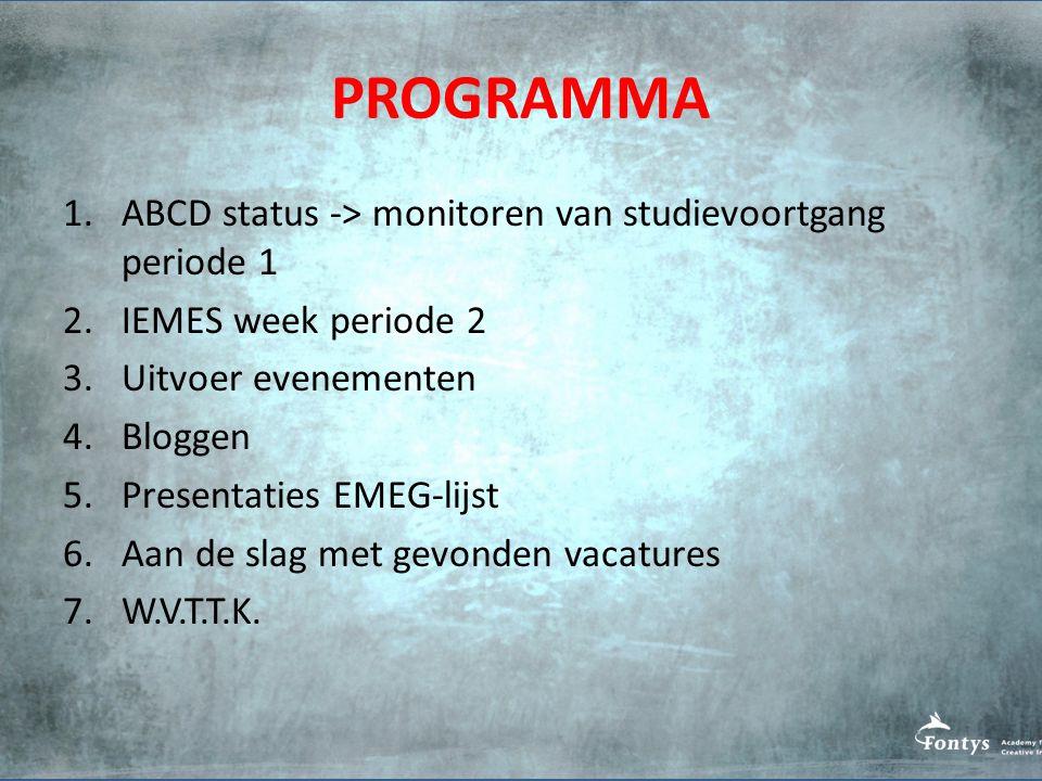 PROGRAMMA ABCD status -> monitoren van studievoortgang periode 1